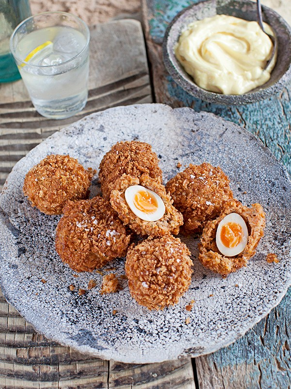Quail Scotch Eggs Recipe with Crab