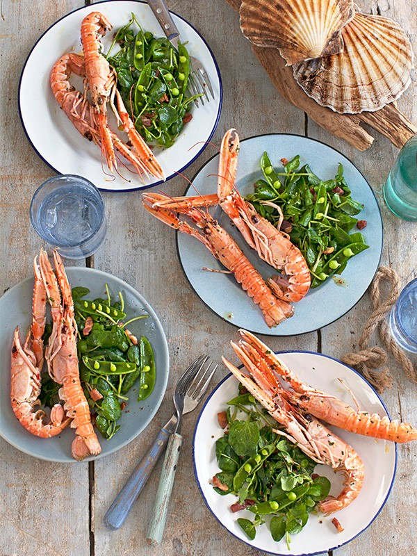 Langoustine Recipe With Bacon Lardons and Peas