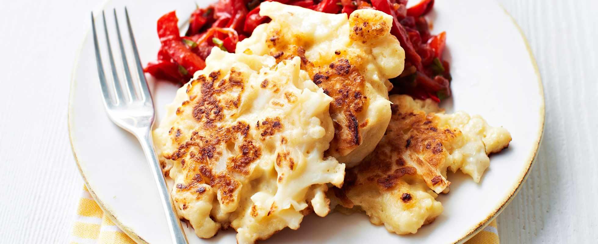 Cauliflower Fritters Recipe with Peperonata