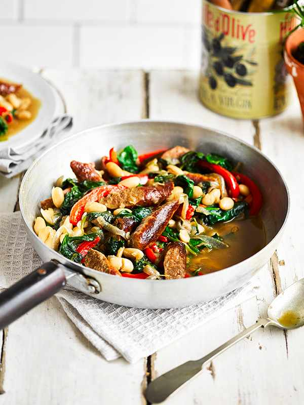 Merguez Sausage Recipe With Cannellini Beans and Spinach