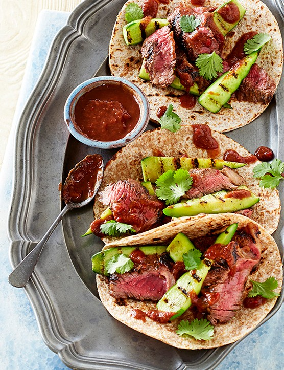 Spicy steak rotis with tamarind and griddled cucumber