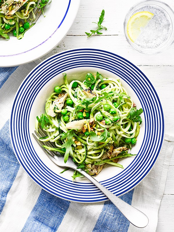 Courgetti Pesto Recipe With Pea and Artichoke Salad