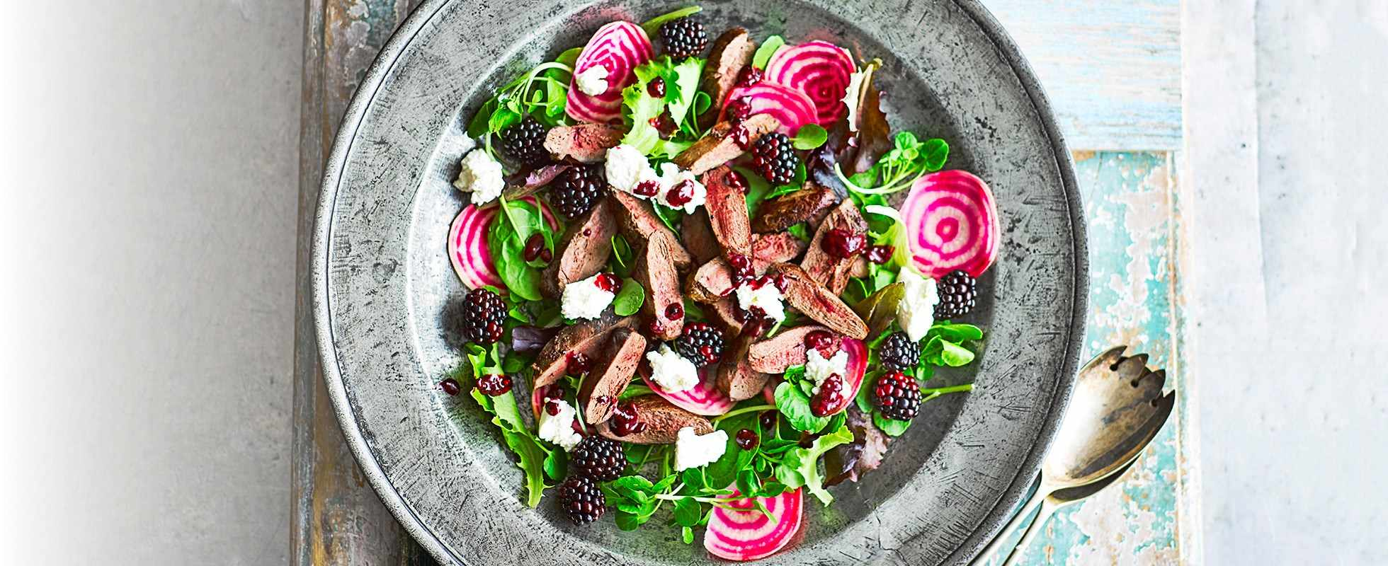 Blackberry, ricotta and pigeon salad