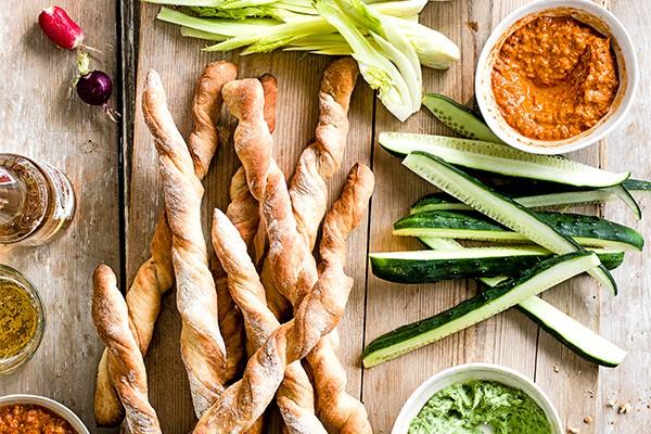 Vegetarian Dip Recipes With Homemade Breadsticks
