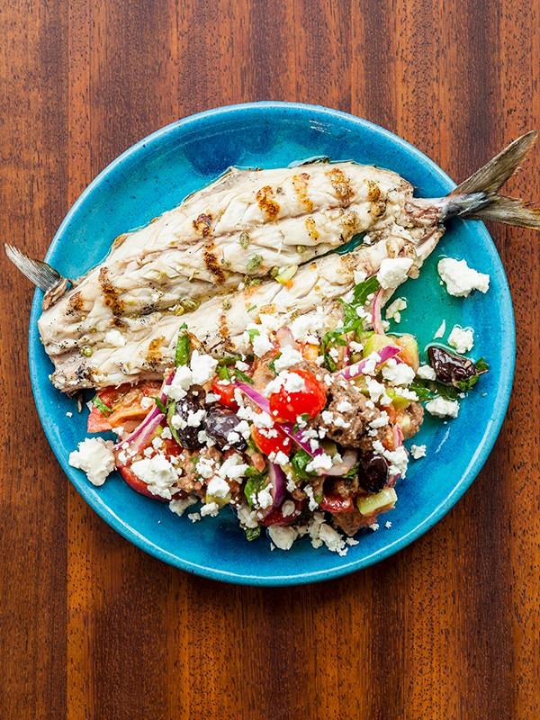 Grilled Sea Bass with Cretan Salad, Tomato, Oregano and Feta