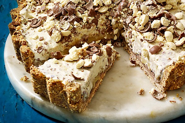 Malted milk and caramel ice-cream pie