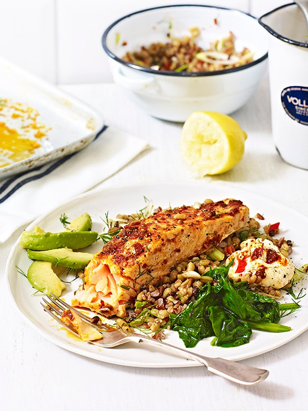 Harissa salmon with mixed grains and spinach