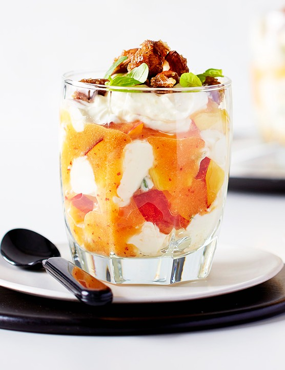 Fresh Peach Recipes with Brown Sugar Almonds