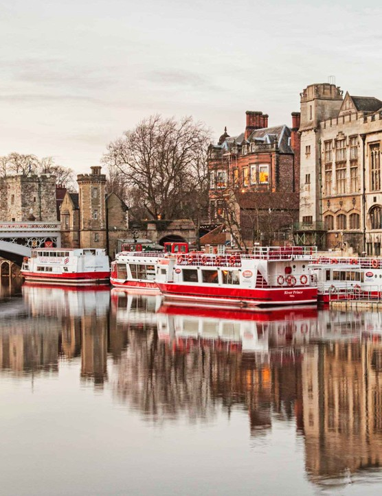 Red and white boats on the river in York