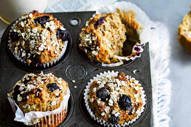 Almond Breakfast Muffins Recipe with Apricot and Blueberry
