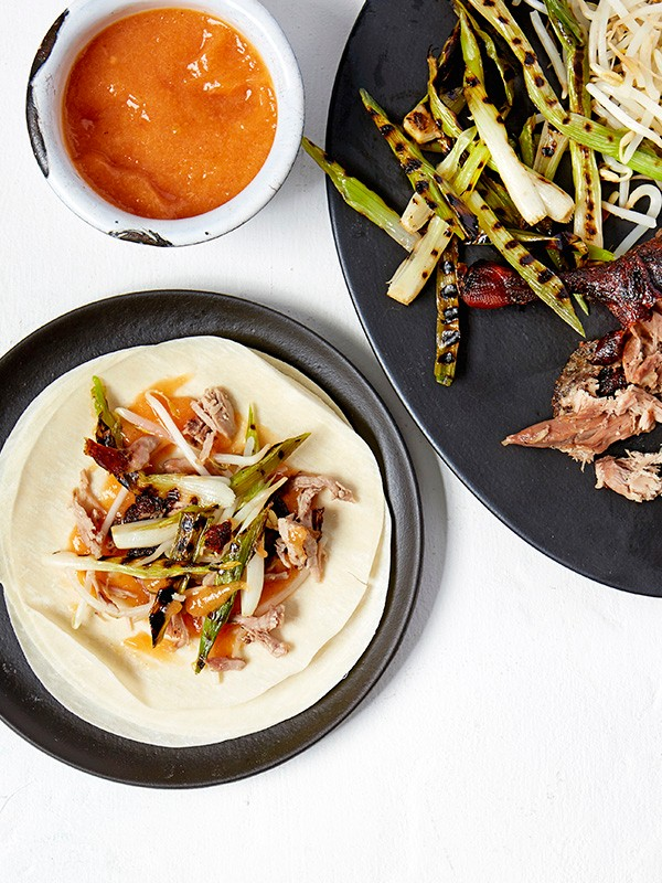 Crispy Duck Pancakes Recipe with Peach