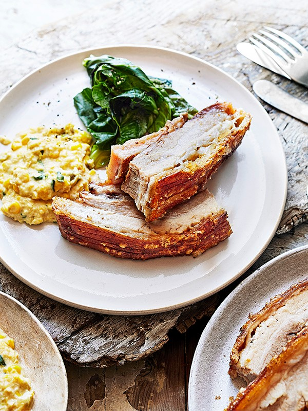 Slow Cooked Pork Belly Recipe with Creamed Corn