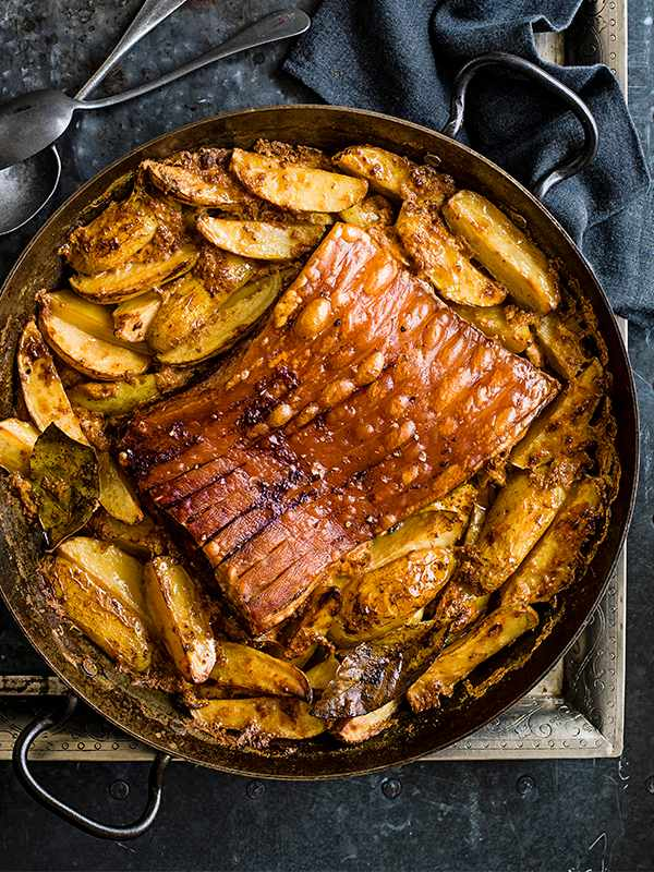 Roast Pork Belly Recipe With Potatoes Baked in Milk