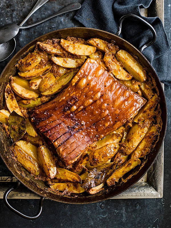 Roast Pork Belly Recipe With Potatoes Baked in Milk