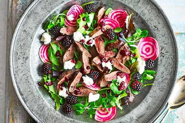 blackberry and pigeon salad
