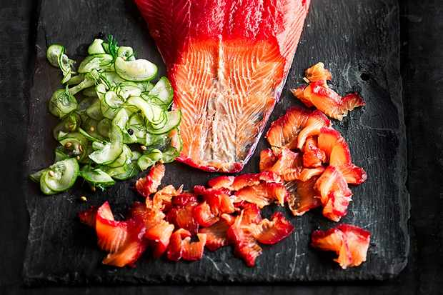 Beetroot and gin-cured salmon