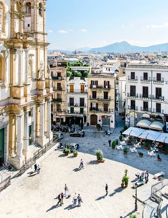 View of a square in Palermo Sicily