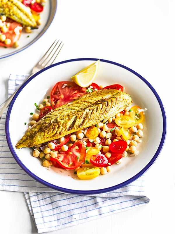 Indian-Spiced Mackerel Recipe with Tomato Salad