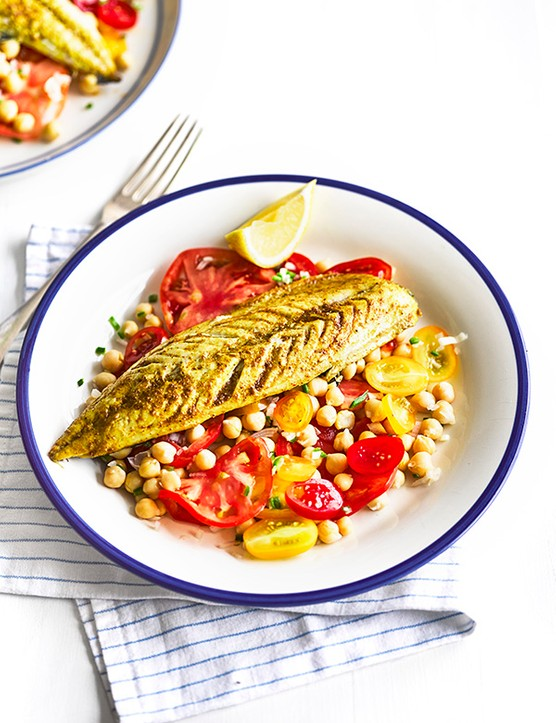 Indian-Spiced Mackerel Recipe with Tomato Salad