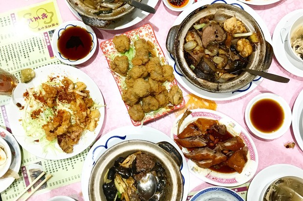 A table full of regional Hong Kong local food