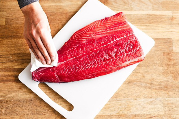 Patting the salmon dry