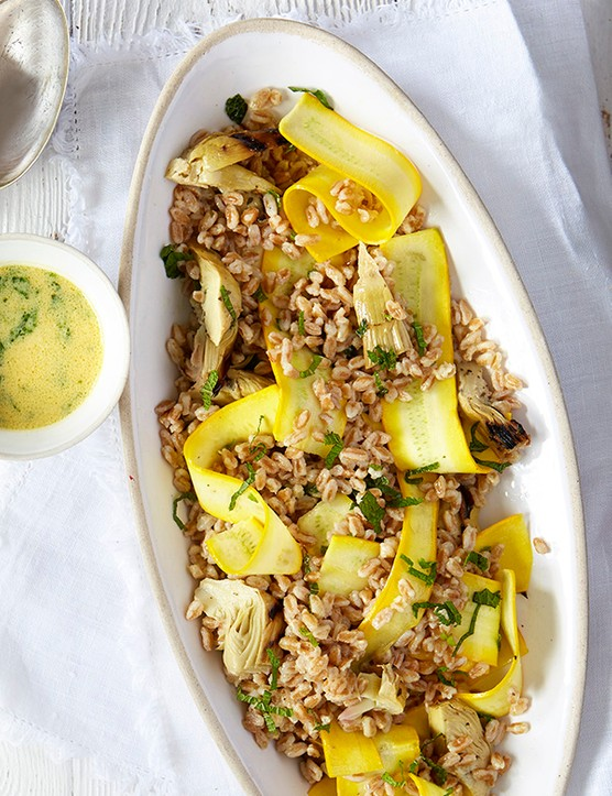 Artichoke, Courgette and Farro Salad with Lemon Recipe