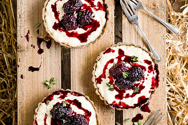 Buckwheat Tarts Recipe with Rice Pudding and Blackberries