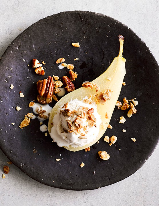 Poached Pears Recipe With Maple Cinnamon Granola