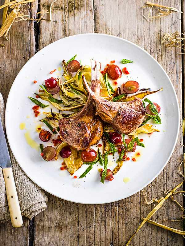 Grilled lamb with roast fennel and spicy grape relish