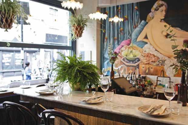 Mural and bar at Blanchette Shoreditch Restaurant Brick Lane