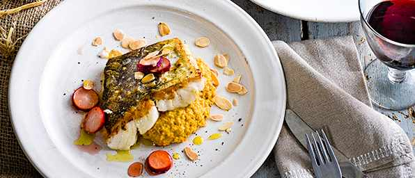 Roast Hake with Butternut Squash Purée and Pickled Radish