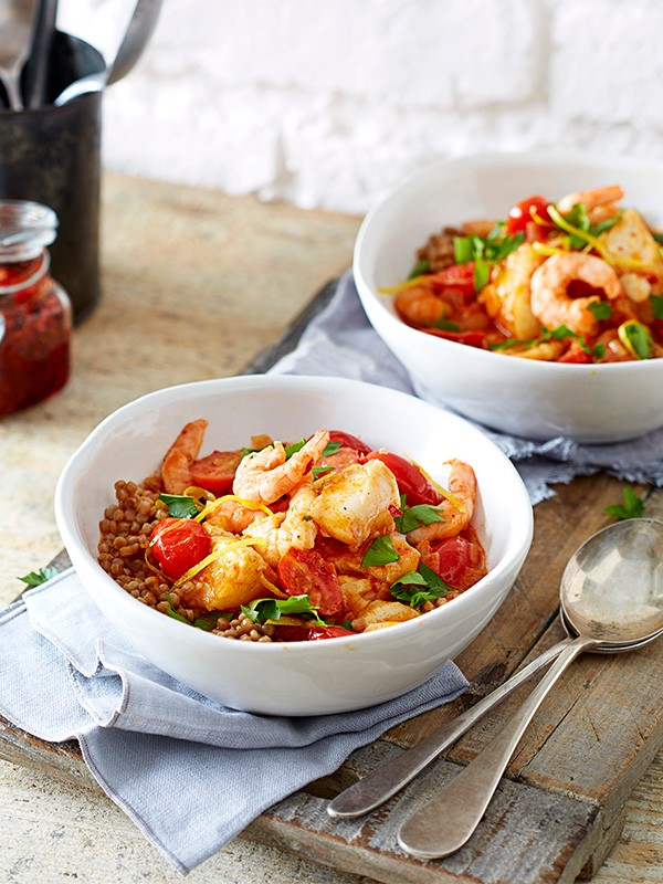 Giant couscous with spicy fish broth