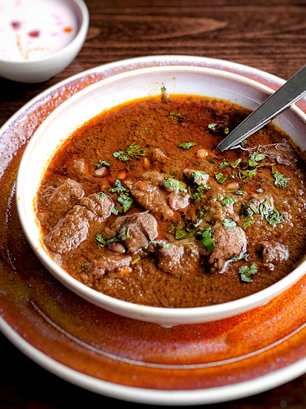 Anardana gosht (lamb cooked in pomegranate)
