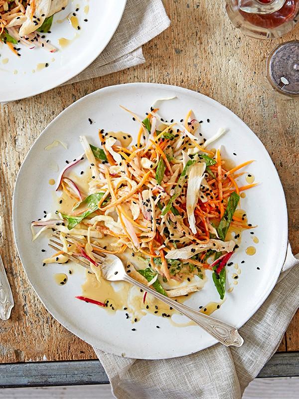 Shredded veg and chicken salad with Japanese sesame dressing