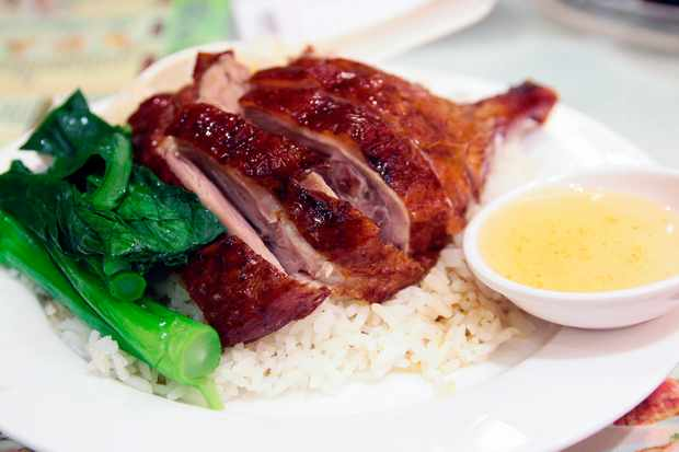 Yat Lok Roast Goose on a bed of rice