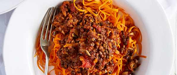 Sweet Potato Noodles With Vegetarian Bolognese Recipe