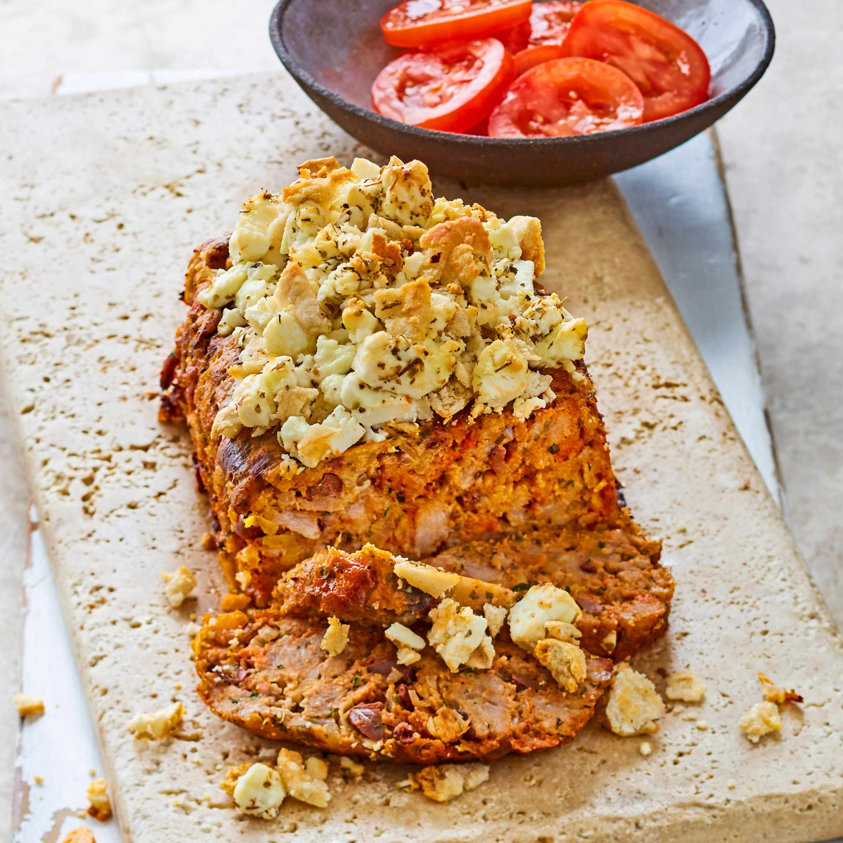 Greek meatloaf with baked feta