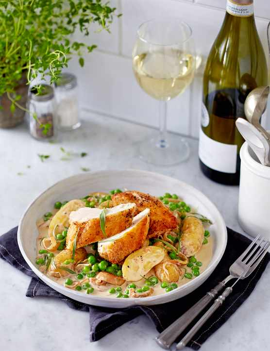 Chicken In Tarragon Sauce With Peas