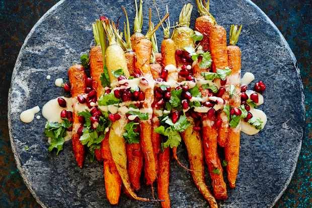 Roasted carrots with tahini and pomegranate