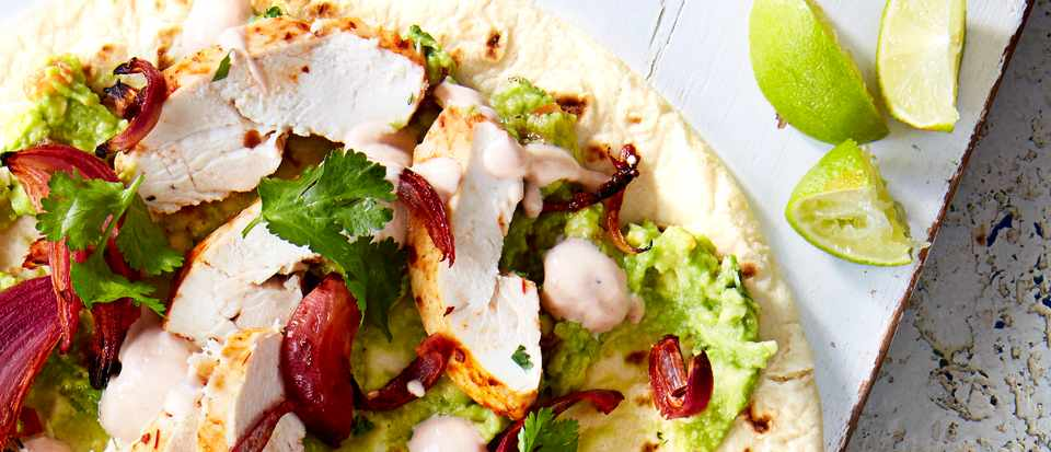 Chipotle chicken and avocado flatbreads