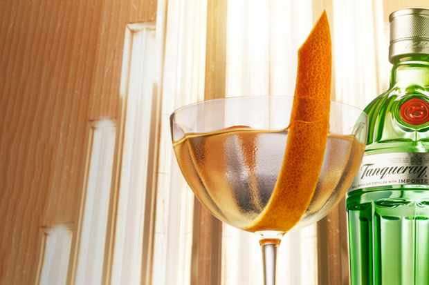 Tanqueray gin bottle with a coupette glass of gin and a slice of orange peel in front
