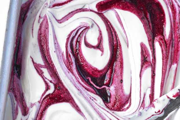 Blackcurrant ripple ice cream