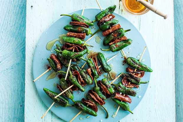 Grilled padron peppers and chorizo skewers