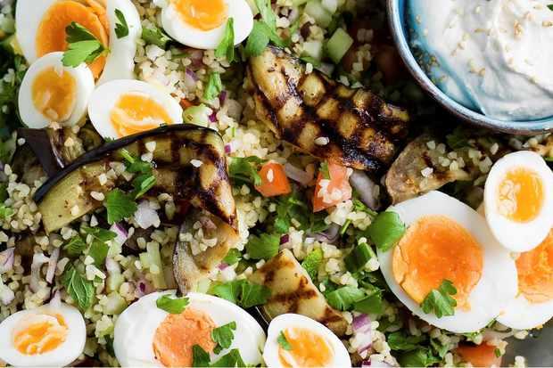 grilled aubergine sabich salad