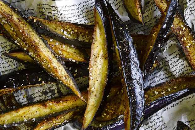 Aubergine sticks with sumac and honey