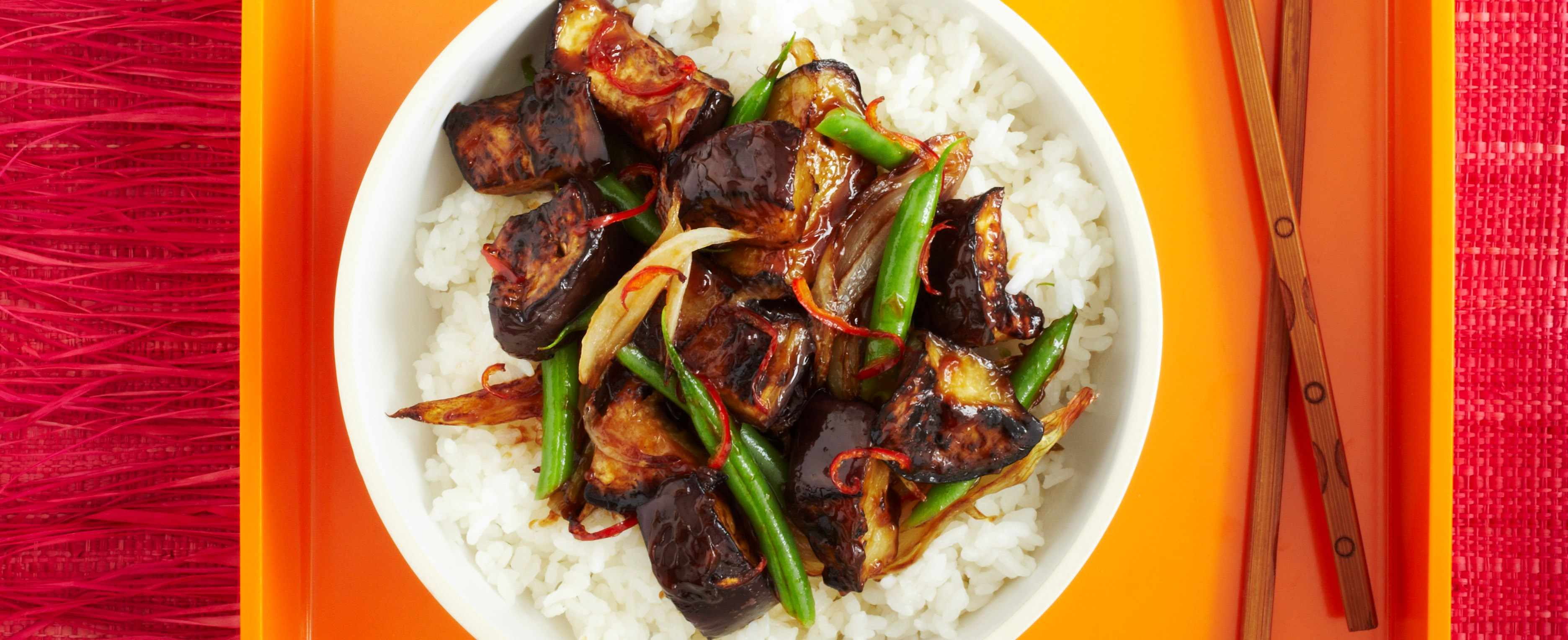 Hot and sour aubergine with sticky rice