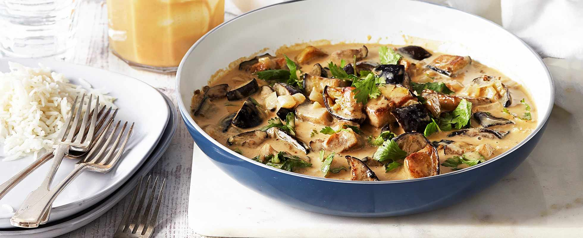 Coconut and aubergine curry