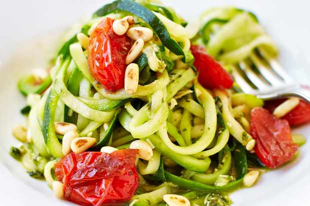 Courgetti with pesto and balsamic tomatoes