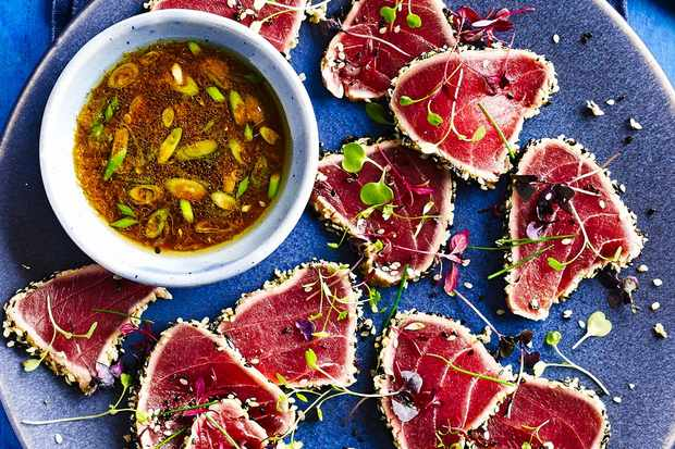 Best ever asian dinner party recipes olive magazine seared tuna tataki this simple asian forumfinder Image collections