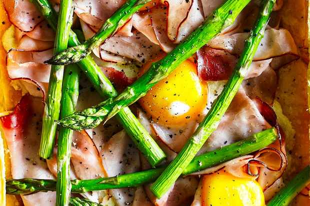 Ham, egg and asparagus tart